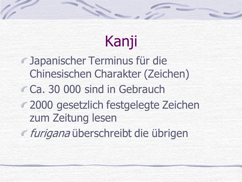 Kanji Japanischer Terminus für die Chinesischen Charakter (Zeichen)