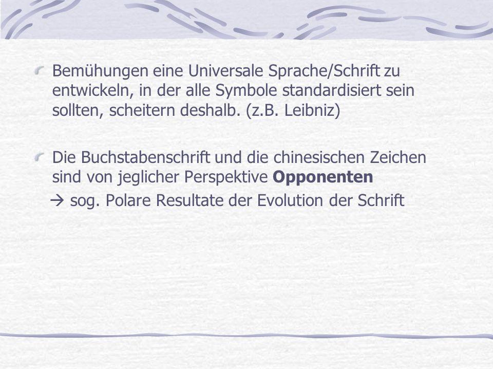 Bemühungen eine Universale Sprache/Schrift zu entwickeln, in der alle Symbole standardisiert sein sollten, scheitern deshalb. (z.B. Leibniz)