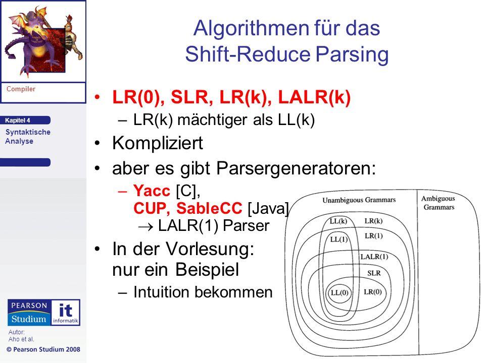 Algorithmen für das Shift-Reduce Parsing