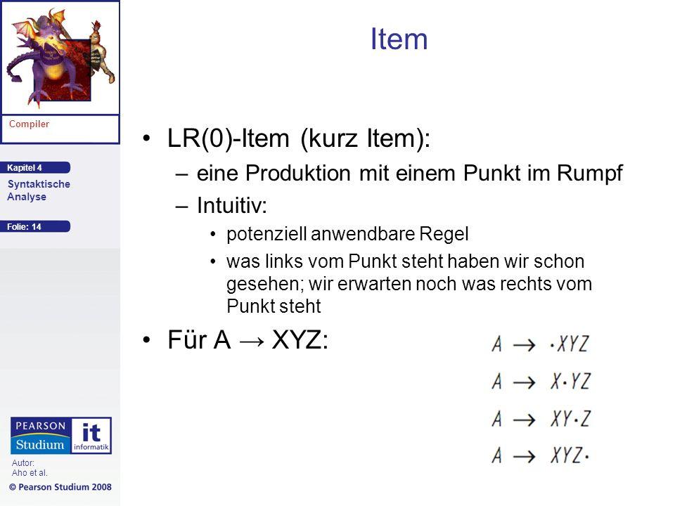 Item LR(0)-Item (kurz Item): Für A → XYZ: