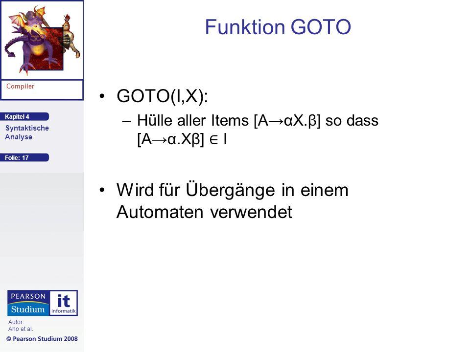 Funktion GOTO GOTO(I,X):