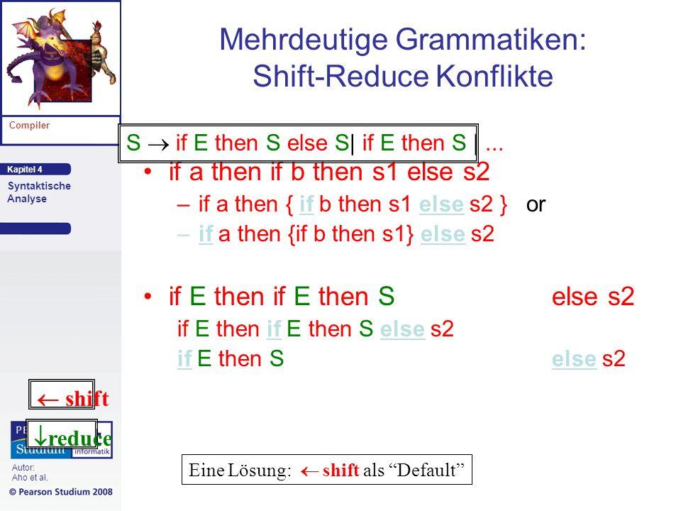 Mehrdeutige Grammatiken: Shift-Reduce Konflikte