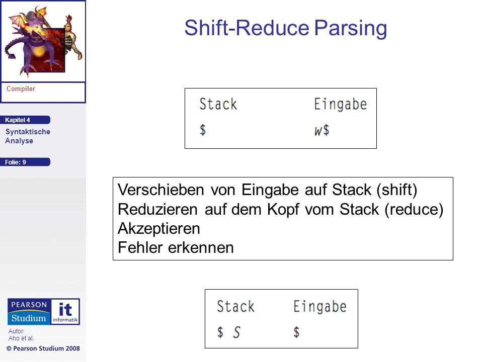 Shift-Reduce Parsing Verschieben von Eingabe auf Stack (shift)