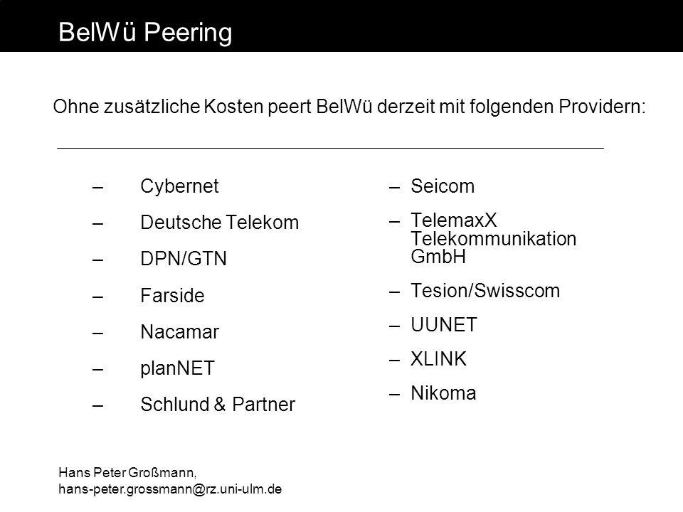 BelWü Peering Ohne zusätzliche Kosten peert BelWü derzeit mit folgenden Providern: Cybernet. Deutsche Telekom.