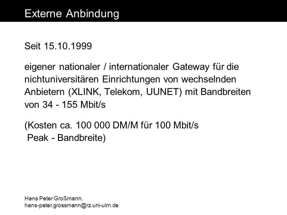 Externe Anbindung Seit 15.10.1999