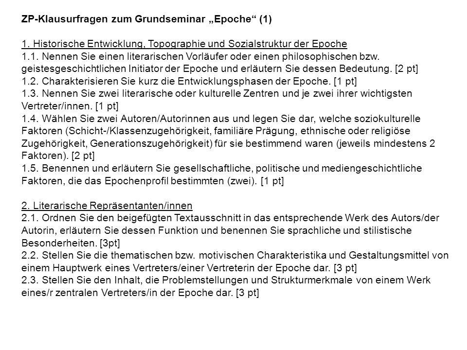 """ZP-Klausurfragen zum Grundseminar """"Epoche (1)"""