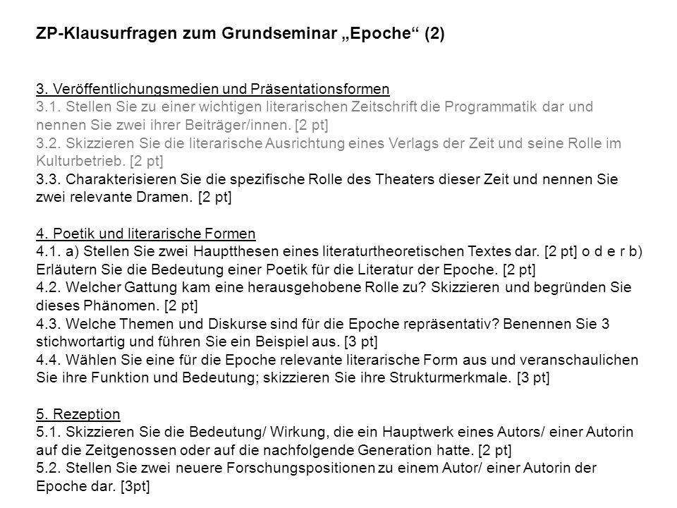"""ZP-Klausurfragen zum Grundseminar """"Epoche (2)"""