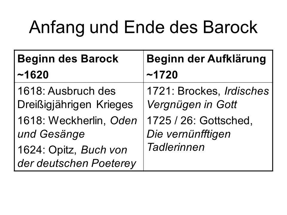 Anfang und Ende des Barock