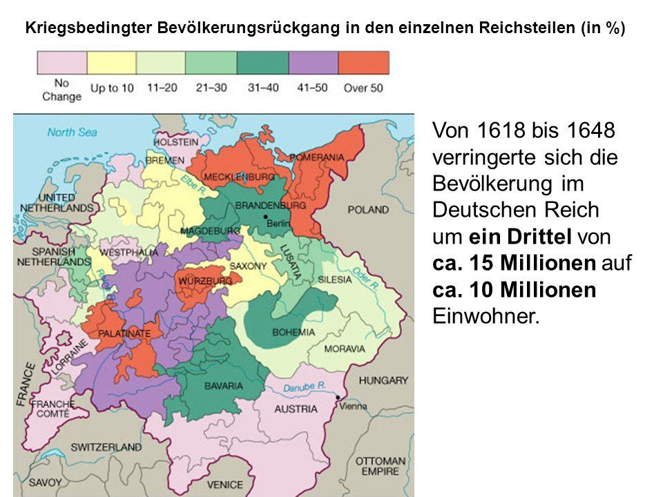 Kriegsbedingter Bevölkerungsrückgang in den einzelnen Reichsteilen (in %)