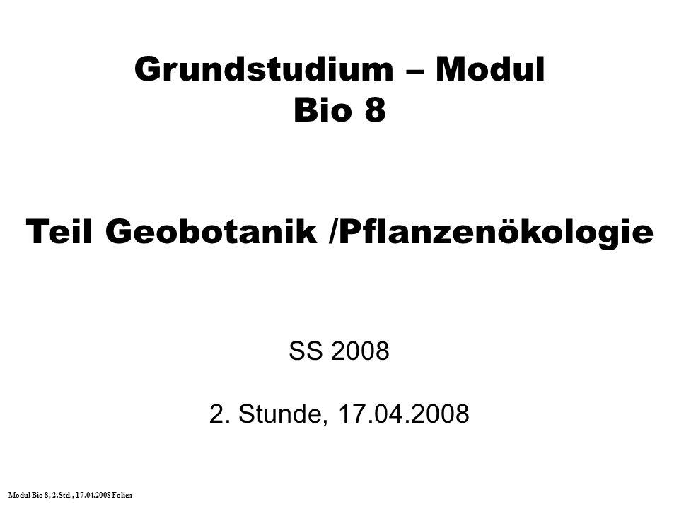 Teil Geobotanik /Pflanzenökologie