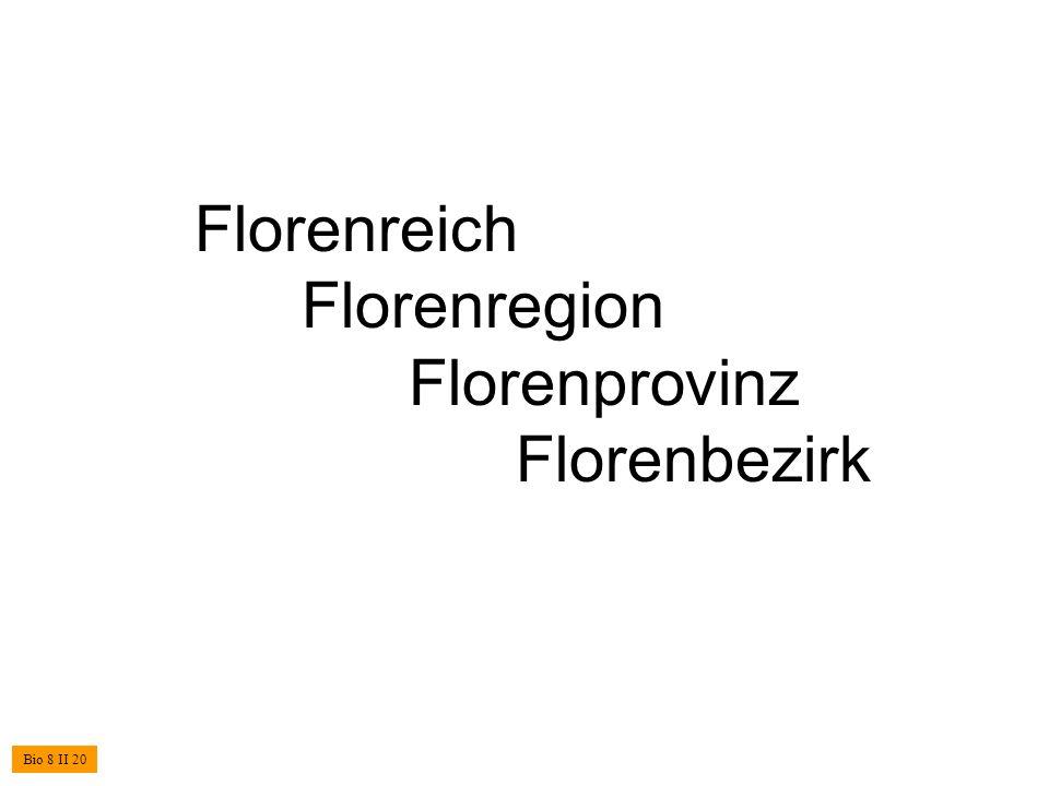 Florenreich Florenregion Florenprovinz Florenbezirk Bio 8 II 20
