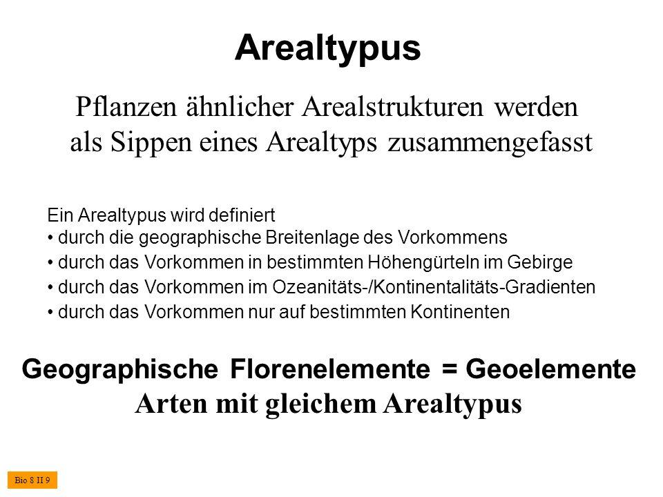 Arealtypus Pflanzen ähnlicher Arealstrukturen werden als Sippen eines Arealtyps zusammengefasst. Ein Arealtypus wird definiert.