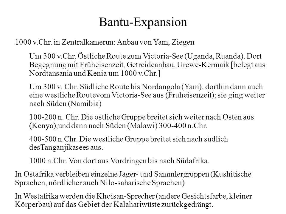 Bantu-Expansion 1000 v.Chr. in Zentralkamerun: Anbau von Yam, Ziegen