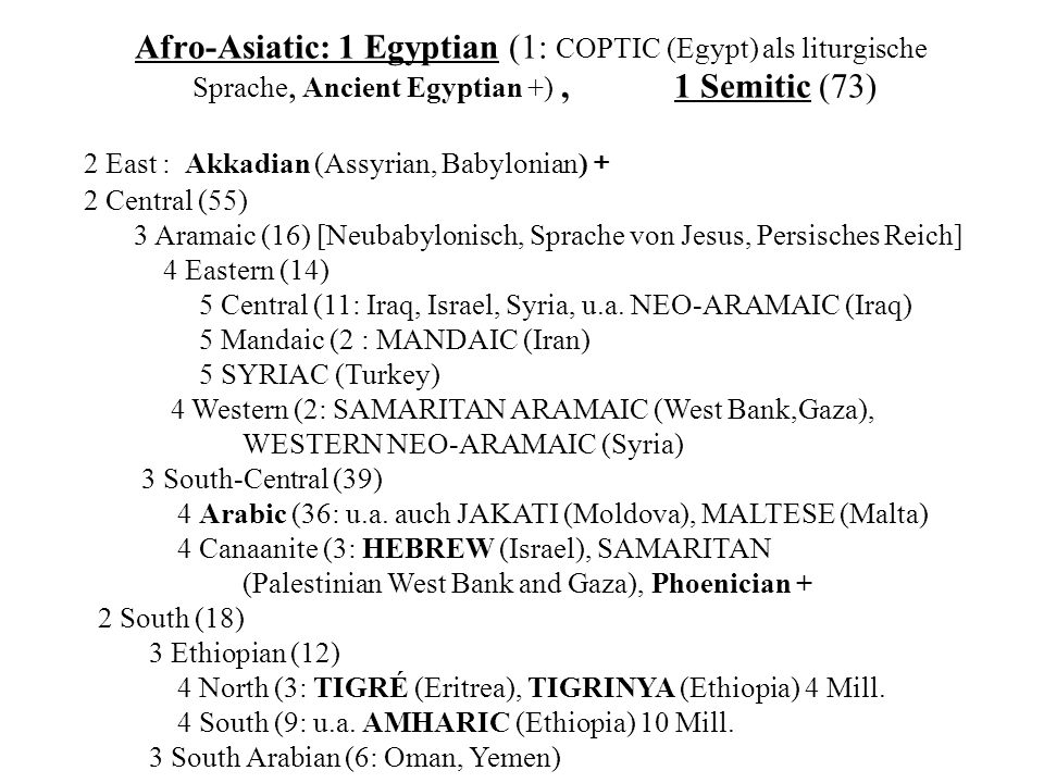 Afro-Asiatic: 1 Egyptian (1: COPTIC (Egypt) als liturgische Sprache, Ancient Egyptian +) , 1 Semitic (73)