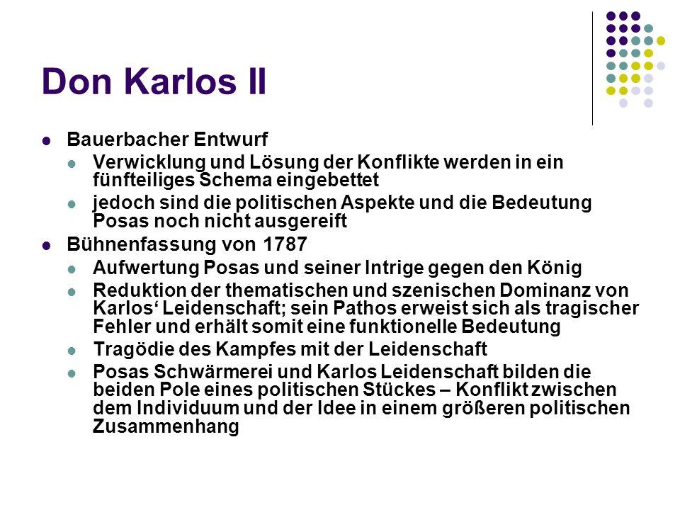 Don Karlos II Bauerbacher Entwurf Bühnenfassung von 1787