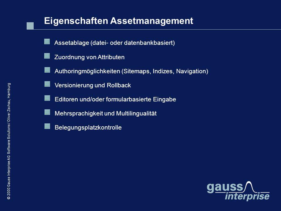 Eigenschaften Assetmanagement