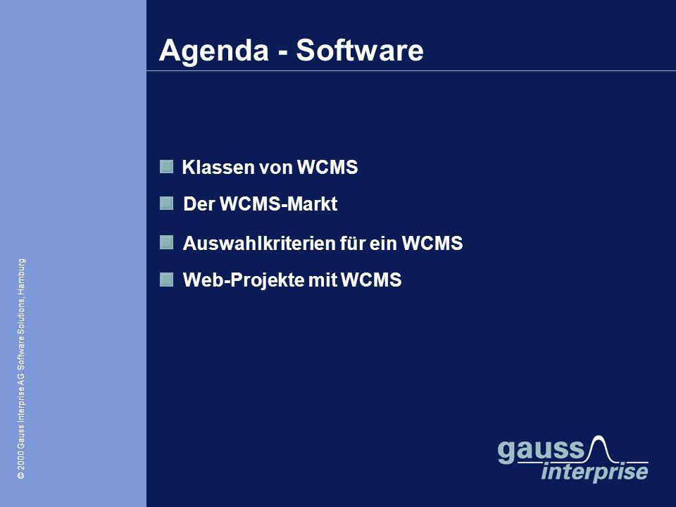Agenda - Software Klassen von WCMS Der WCMS-Markt