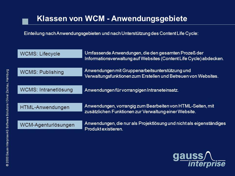 Klassen von WCM - Anwendungsgebiete