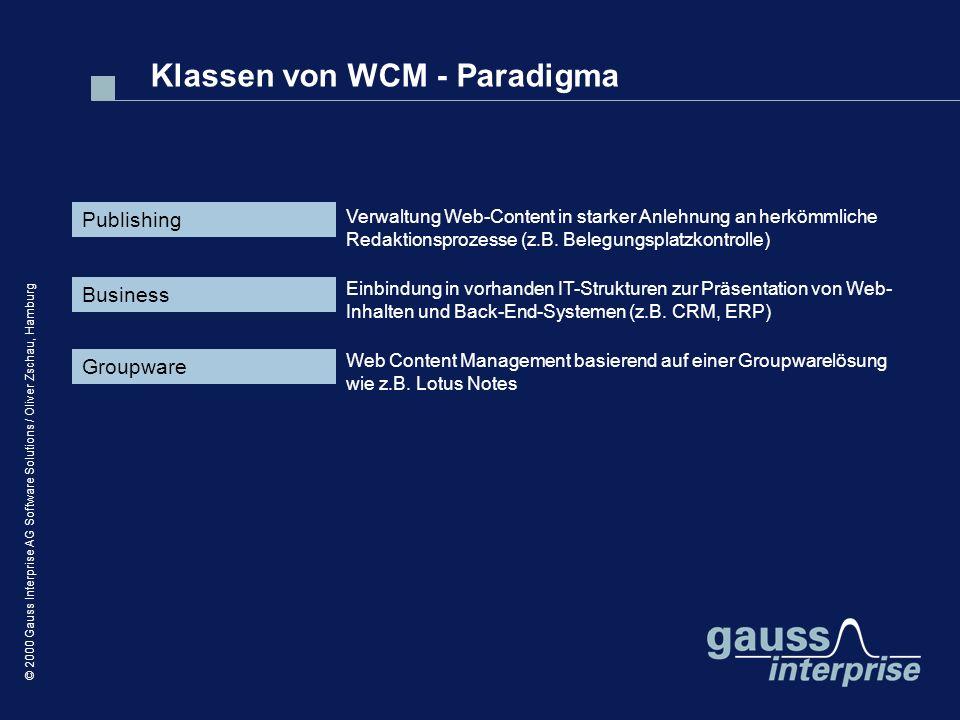 Klassen von WCM - Paradigma