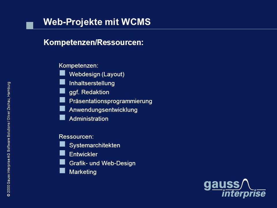 Web-Projekte mit WCMS Kompetenzen/Ressourcen: Kompetenzen: