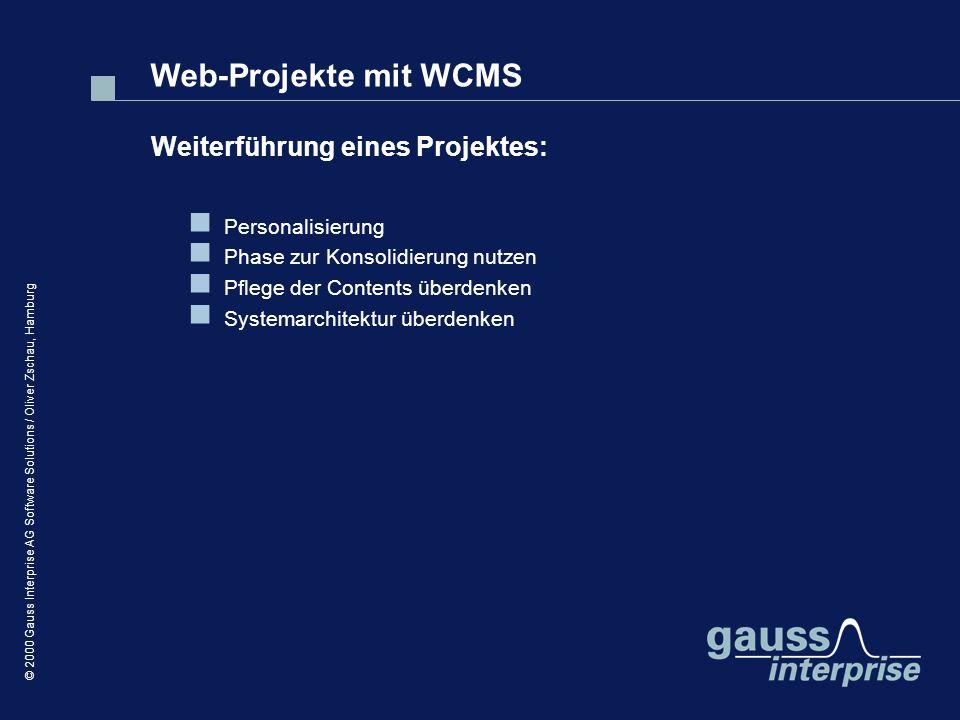 Web-Projekte mit WCMS Weiterführung eines Projektes: Personalisierung
