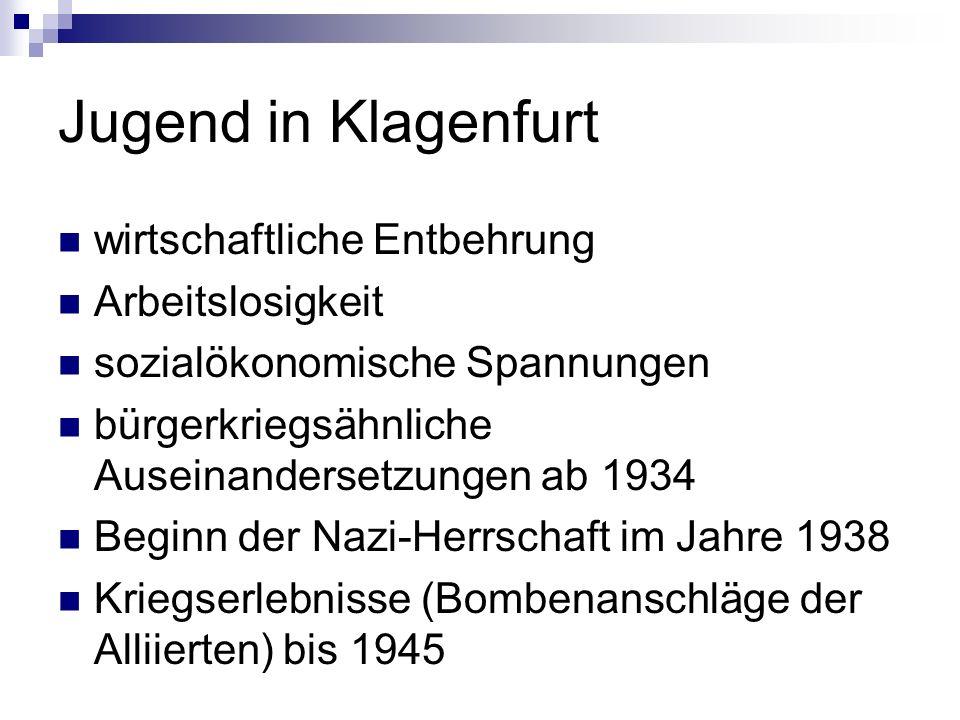 Jugend in Klagenfurt wirtschaftliche Entbehrung Arbeitslosigkeit