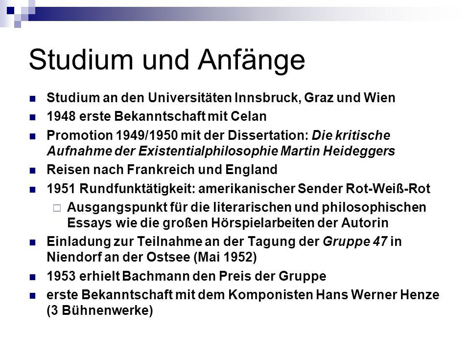 Studium und AnfängeStudium an den Universitäten Innsbruck, Graz und Wien. 1948 erste Bekanntschaft mit Celan.