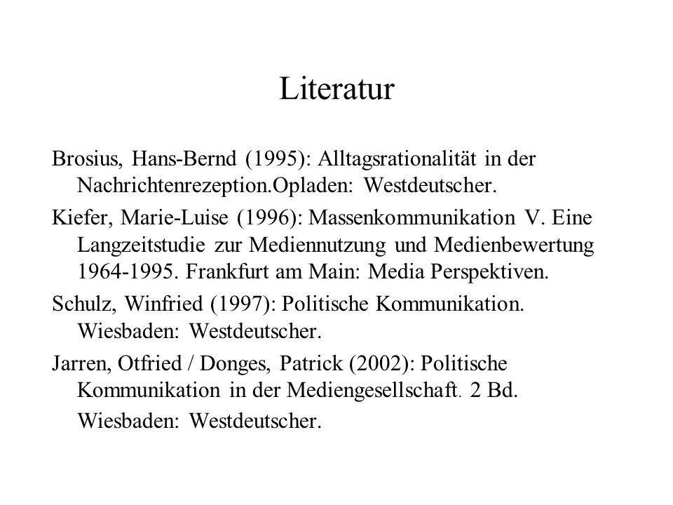 Literatur Brosius, Hans‑Bernd (1995): Alltagsrationalität in der Nachrichtenrezeption.Opladen: Westdeutscher.