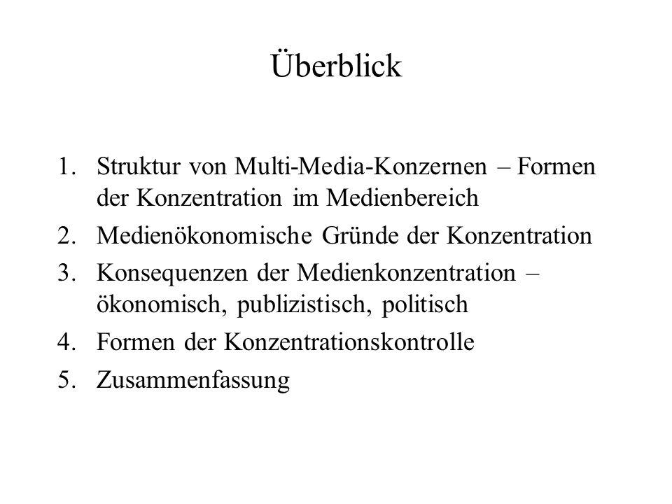 Überblick Struktur von Multi-Media-Konzernen – Formen der Konzentration im Medienbereich. Medienökonomische Gründe der Konzentration.