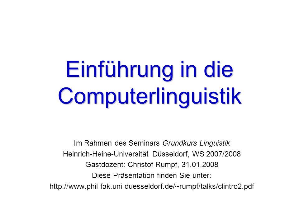 Einführung in die Computerlinguistik