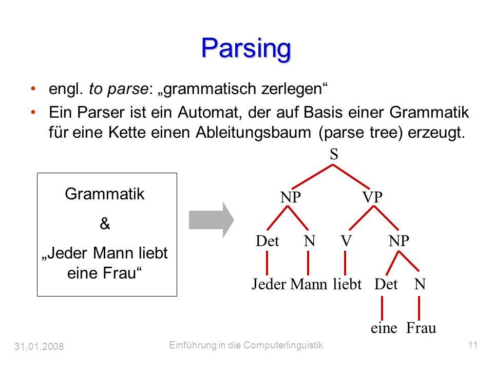 """Parsing engl. to parse: """"grammatisch zerlegen"""