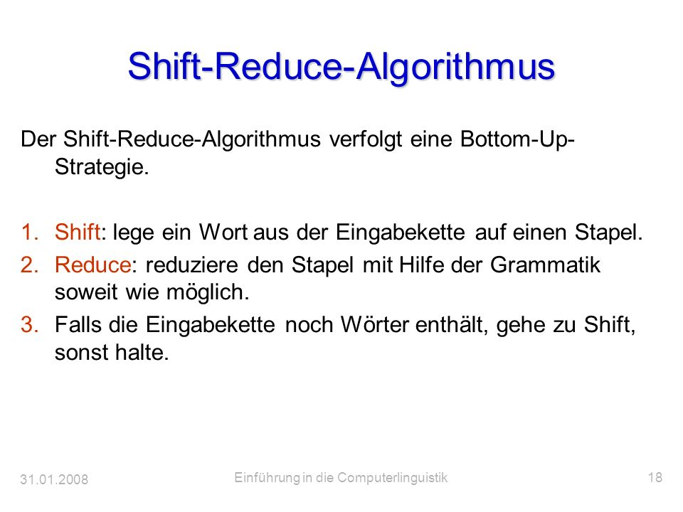 Shift-Reduce-Algorithmus