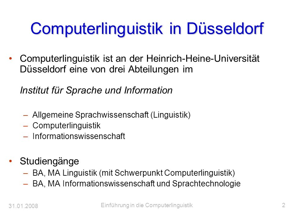 Computerlinguistik in Düsseldorf