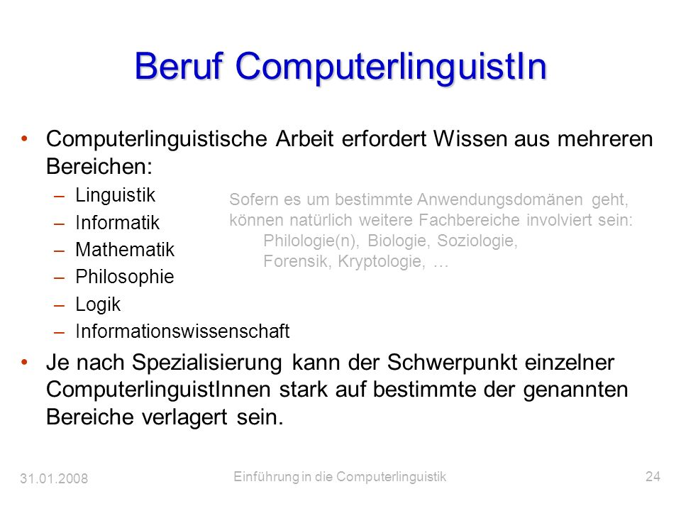Beruf ComputerlinguistIn