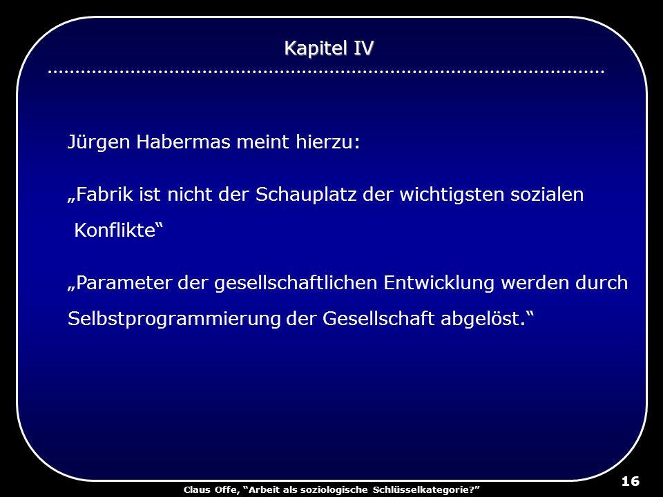 Claus Offe, Arbeit als soziologische Schlüsselkategorie