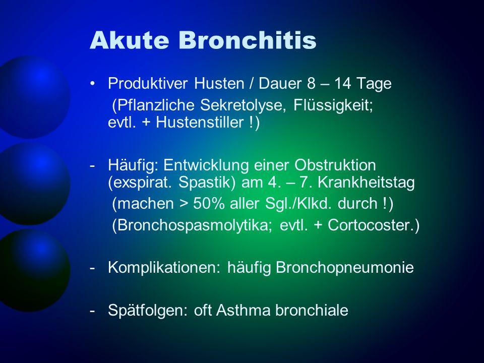 Akute Bronchitis Produktiver Husten / Dauer 8 – 14 Tage