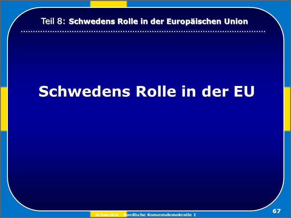 Schwedens Rolle in der EU Schweden - Nordische Konsensdemokratie I