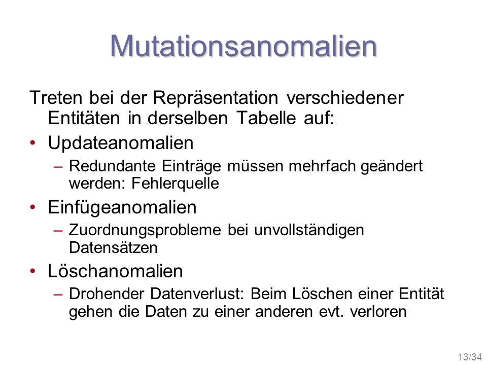 Mutationsanomalien Treten bei der Repräsentation verschiedener Entitäten in derselben Tabelle auf: Updateanomalien.