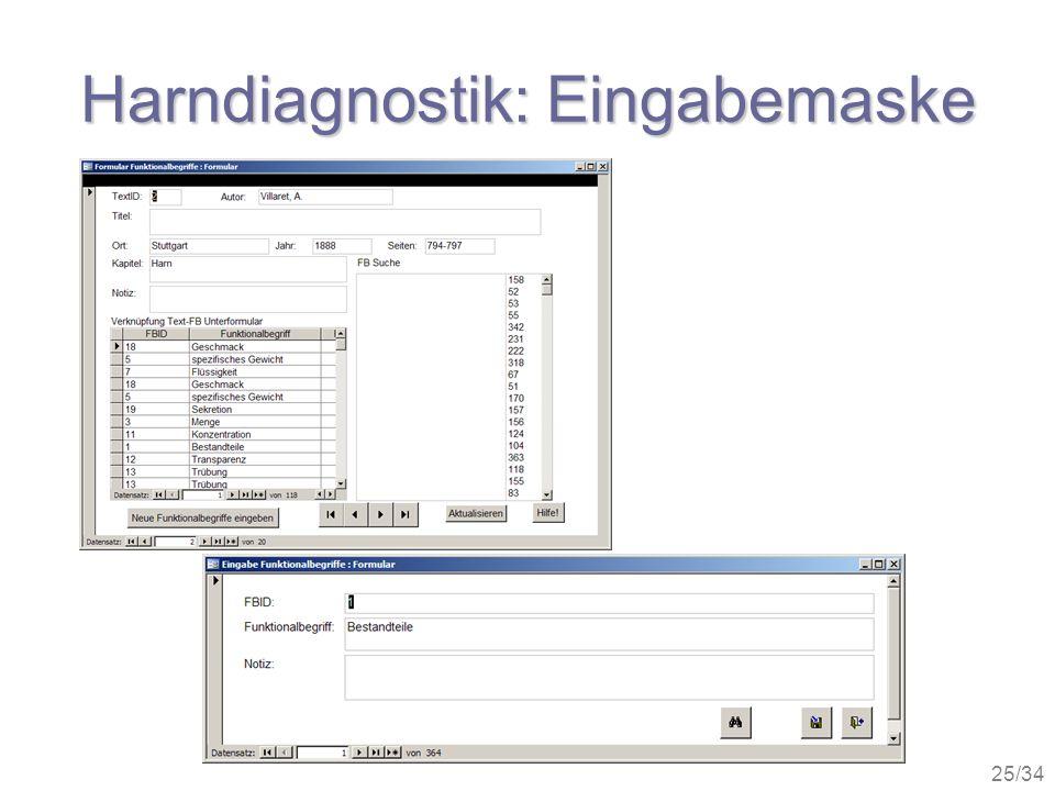 Harndiagnostik: Eingabemaske