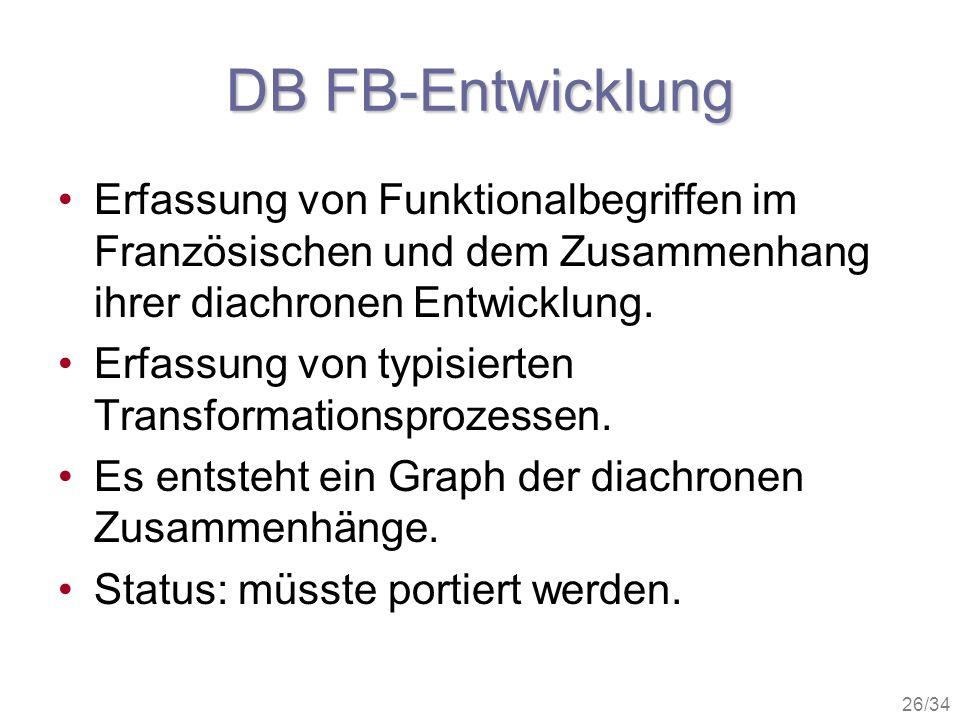 DB FB-Entwicklung Erfassung von Funktionalbegriffen im Französischen und dem Zusammenhang ihrer diachronen Entwicklung.
