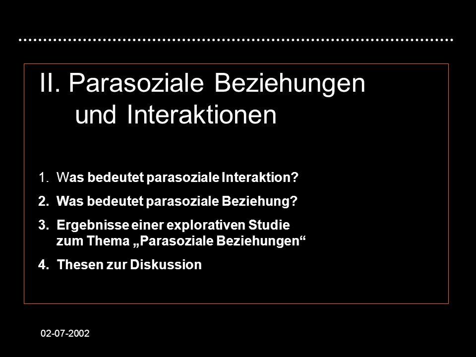 II. Parasoziale Beziehungen und Interaktionen
