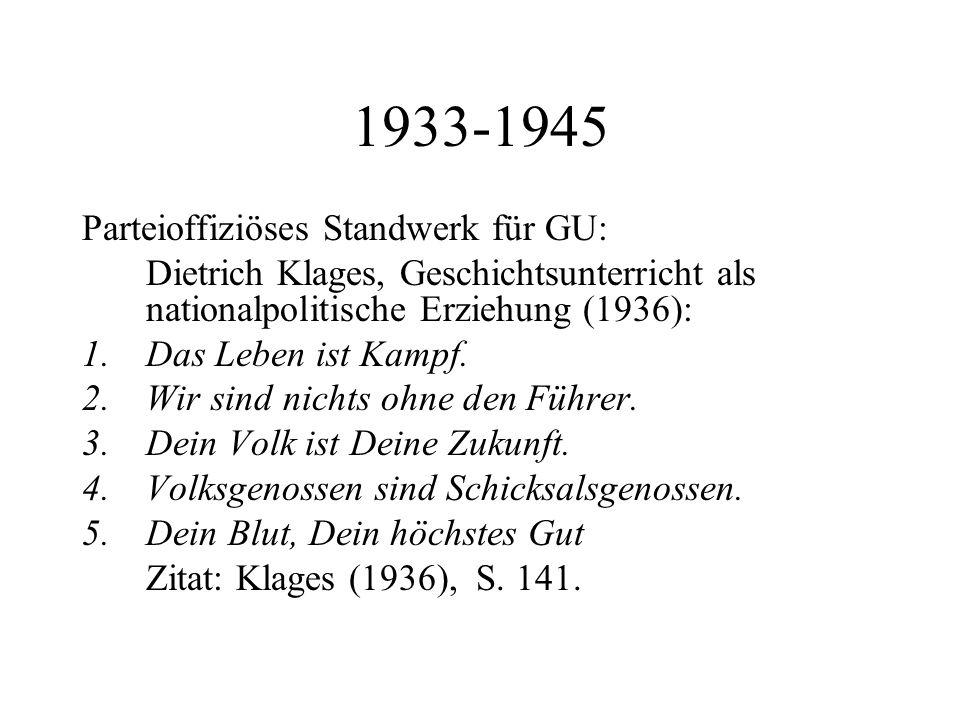 1933-1945 Parteioffiziöses Standwerk für GU: