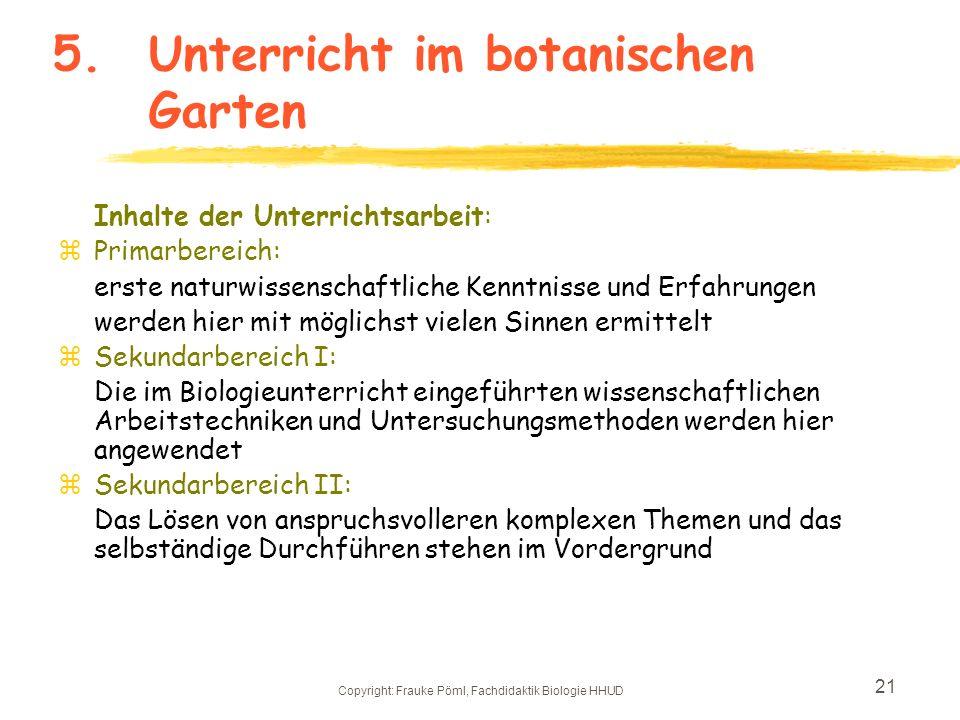 5. Unterricht im botanischen Garten