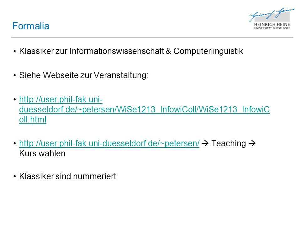 Formalia Klassiker zur Informationswissenschaft & Computerlinguistik