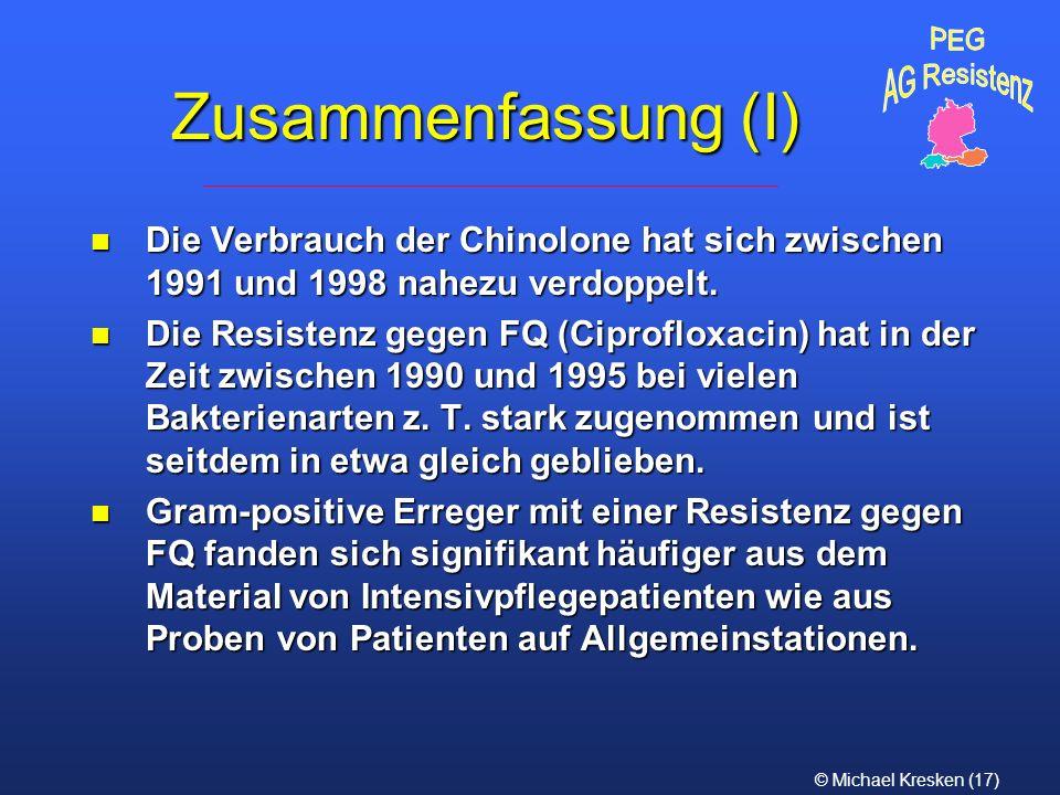 PEG AG Resistenz. Zusammenfassung (I) Die Verbrauch der Chinolone hat sich zwischen 1991 und 1998 nahezu verdoppelt.