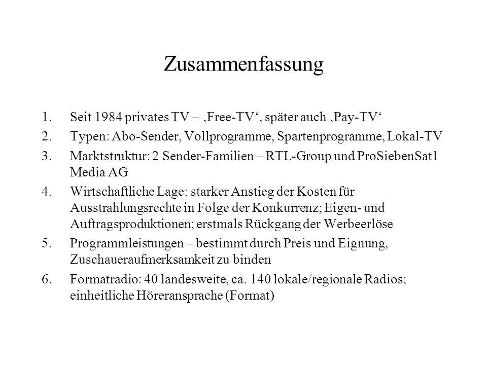 Zusammenfassung Seit 1984 privates TV – 'Free-TV', später auch 'Pay-TV' Typen: Abo-Sender, Vollprogramme, Spartenprogramme, Lokal-TV.