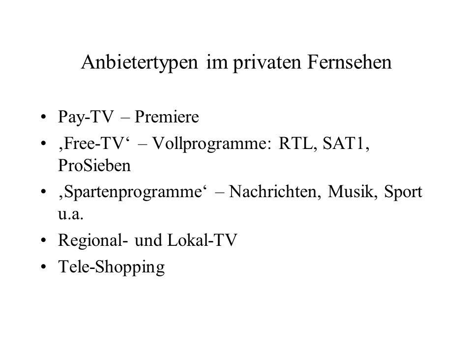 Anbietertypen im privaten Fernsehen