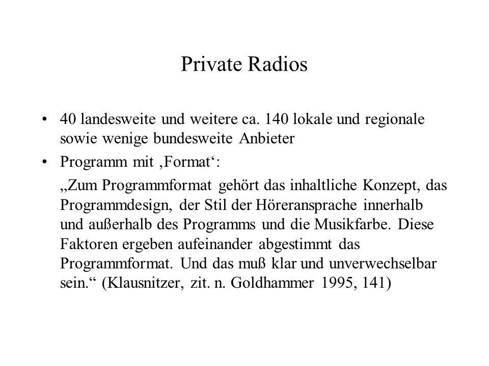 Private Radios 40 landesweite und weitere ca. 140 lokale und regionale sowie wenige bundesweite Anbieter.