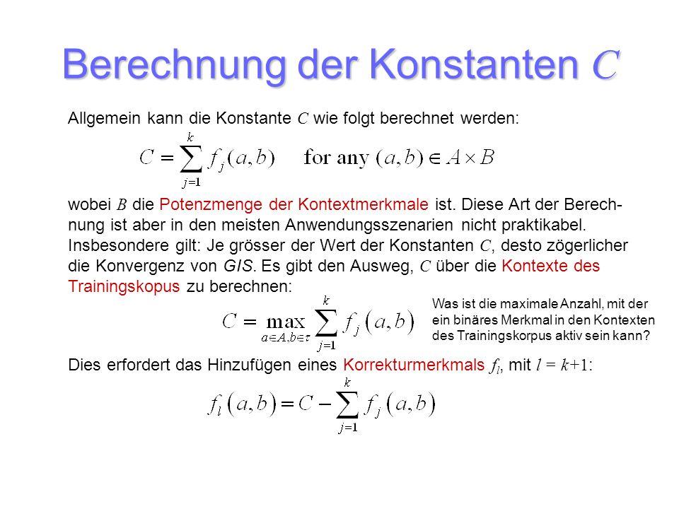 Berechnung der Konstanten C