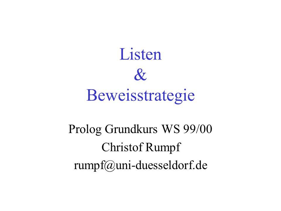 Listen & Beweisstrategie
